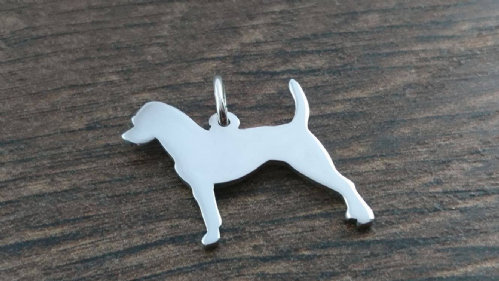 Parson Russell Terrier dog silhouette pendant sterling silver handmade by saw piercing Caroline Howlett Design